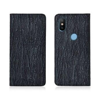 Luxury Bark Pattern Genuine Leather Magnetic Flip Phone Case For Xiaomi Mi6X/Xiaomi Mi6 Phone Cover Card Slot Holder Funda Capa
