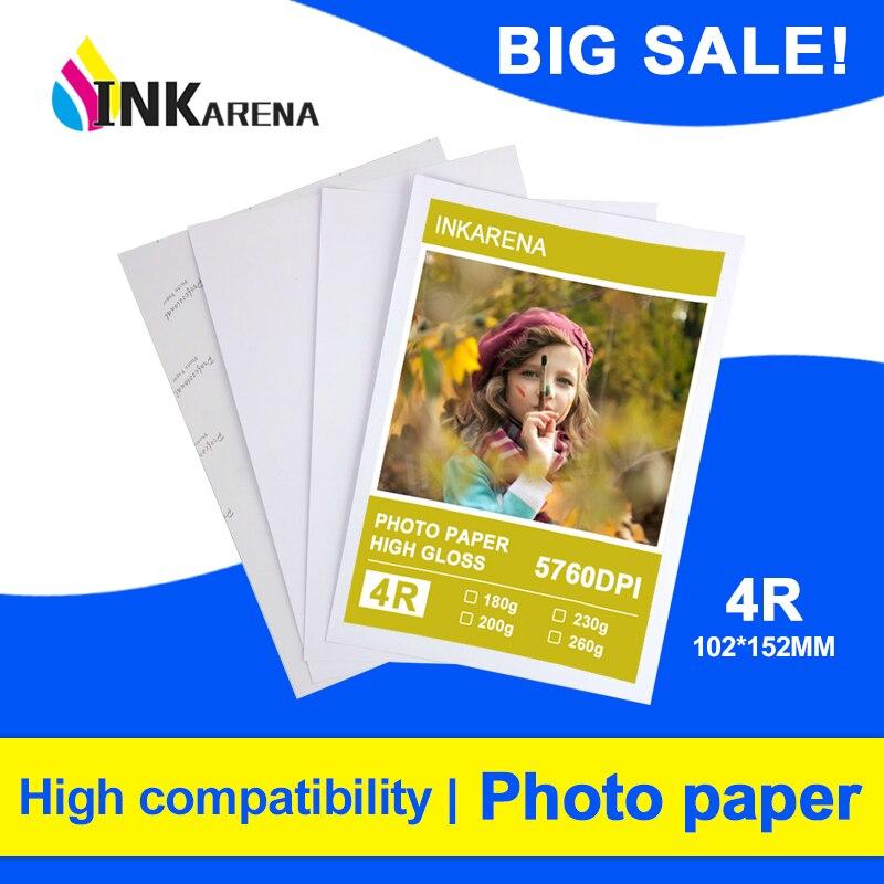 INKARENA 100 Sheets 4R High Glossy Photo Paper For Inkjet Printer Photo studio Photographer imaging Printing Paper 6 inch