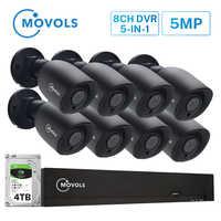 MOVOLS 5MP HD sistema de cámara de seguridad 8CH H.265 DVR exterior Interior video vigilancia kit visión nocturna impermeable Sistema de CCTV