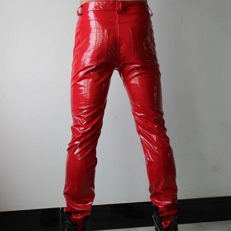 Fashion Men Faux Patent Leather Skinny Pencil Pants Low Waist Punk Style Red Male Trousers Plus Size Motorcycle Pu Leather Pants