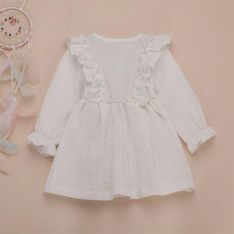 linho crianca menina de algodao vestido da