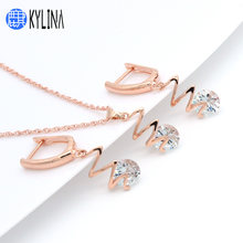 KYLINA 2019 New Lightning AAA Cubic Zircon Dangle Earrings For Women Jewelry Set 585 Rose Gold Fine Wedding Fashion Jewelry Gift(China)