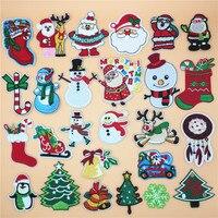 26 шт./партия рождественские украшения «сделай сам» вышитая нашивка, приклеиваемая утюгом заплатка для одежды наклейки пришить на applies новог...