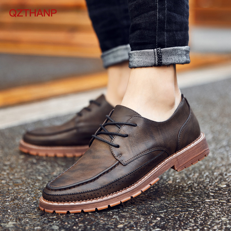 2018 Casual PU Leather Boots Men Black Mens Boots Men Martins Men Shoes Oxford Krasovki Moccasins Men Party Shoes High Quality