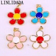 10Pcs Mix colors Enamel Flower Pendants Children/ Women Jewelry New Fashion