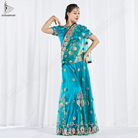 Women Bollywood Indian Dance Costume Top Skirt Veil 3pcs Set Belly Dance Sari Embroidered Clothes Halloween Clothes