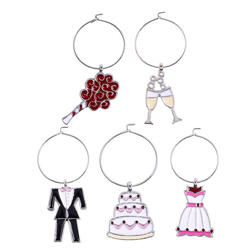 5Pcs Bride Groom Dress Pendant Wine Glass Cup Ring Tags Markers Table Decor