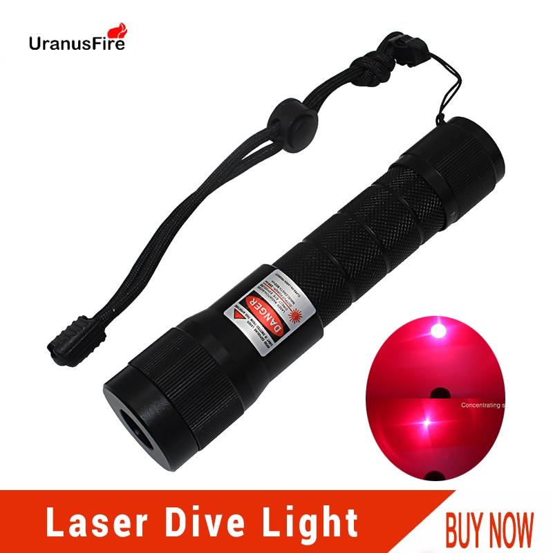 Uranusfire Red Laser Diving Flashlight LED Underwater Light Torch 18650 Waterproof 100m Powerful Tactical LED Laser Dive Light