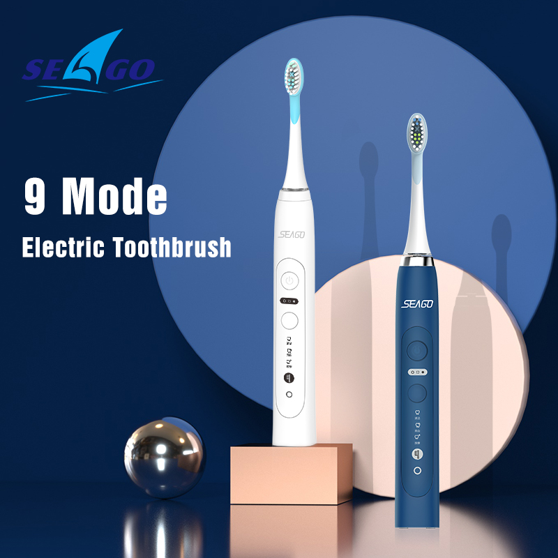 Seago 9 Models Inductive Charging Rechargeable Sonic Electric Toothbrush Tooth brush For Adult 3 Replacement Brush Head Gift