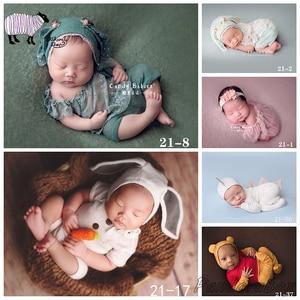 Реквизит для фотосъемки новорожденных шляпа + платье комплект одежды для студийной съемки младенцев мультфильм наряды костюм bebe fotoshooting акс...