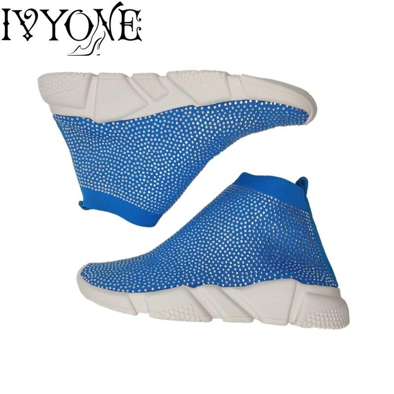 بلينغ حذاء امرأة حجر الراين الكريستال جورب الأحذية المرأة تفلكن الأحذية الفاخرة العلامة التجارية امرأة تنفس السيدات منصة حذاء رياضة-في أحذية نسائية مسطحة من أحذية على  مجموعة 1