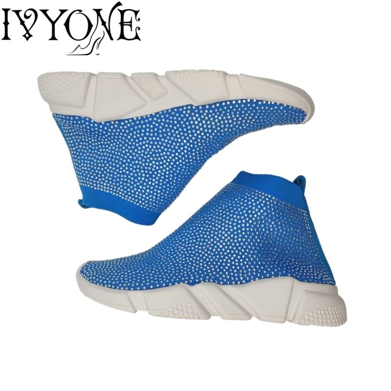 Ayakk.'ten Kadın Topuksuz Ayakkabı'de Bling Kadın Ayakkabı Taklidi Kristal Çorap kadın Vulkanize Ayakkabı Lüks Marka Kadın Nefes Bayanlar Platformu Ayakkabı'da  Grup 1