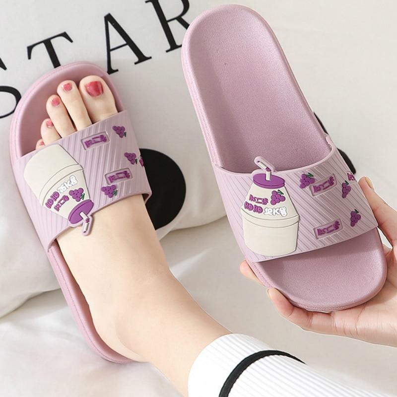 Women Slippers Summer Home Indoor Cute Cartoon Fruit Milk Bathroom Non Slip Thick Soft Sole Flat Shower Ladies Shoes Men House