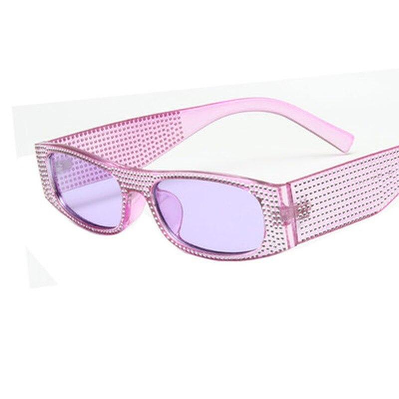 Маленькие квадратные солнцезащитные очки для женщин, имитация бриллианта, Ретро стиль, вечерние очки, крест, модные солнцезащитные очки UV400 ...