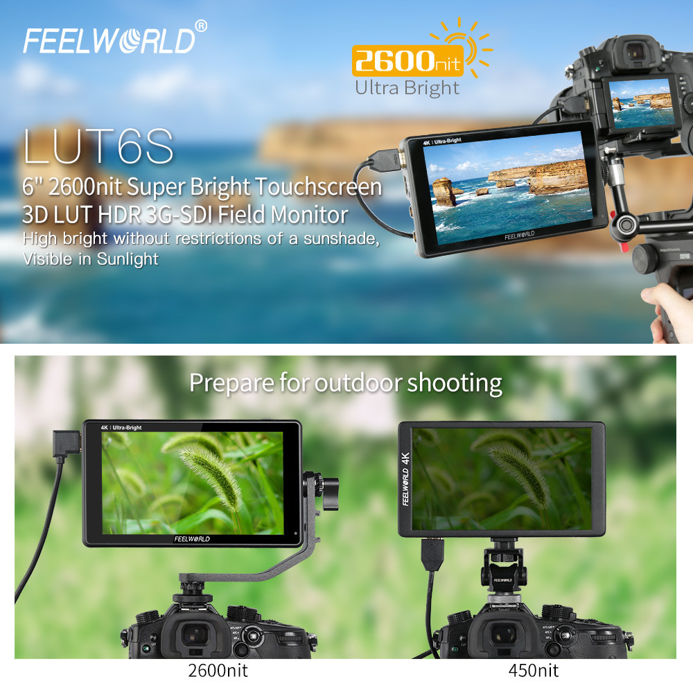 FEELWORLD LUT6S 6-inčni terenski monitor kamere 2600nits HDR / 3D - Kamera i foto - Foto 3