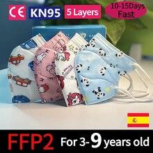 Multi Color FFP2 niños Kids Masks 5 Layer KN95 masque Children 95% Filtration 3-9 old ffp2 KN95 Face maske Mascarillas niños