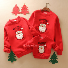 Thick Family Christmas Sweaters New Year Look Matching Hoodies Santa Claus Embroidery Cartoon Mom Dad Kids Pajamas Clothing