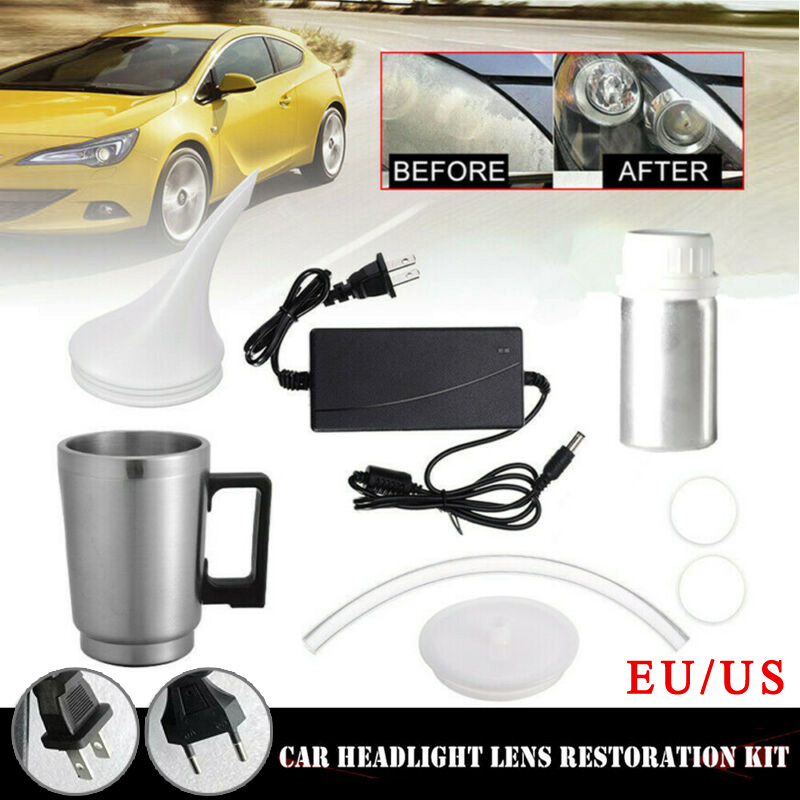 50ml Car Headlight Restorer Repair 12V Restoration Steam Polishing Liquid Chemical Tool Headlights Refurbished Polish EU/US Plug