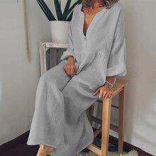 Wholesale Autumn Female V-Neck Long Sleeve Long Section Cott