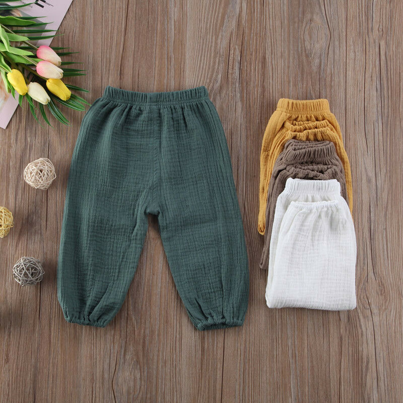 Pudcoco Kids Baby Girl Boy Clothes Bottoms Wrinkled Pantalettes Pants Babies LooseCotton linen Long pant Trousers