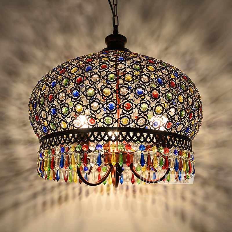 Юго-Восточной Азии Ретро Богемская Люстра Творческий Кафе западный ресторан горячий горшок магазин Синьцзян Экзотический стиль лампы