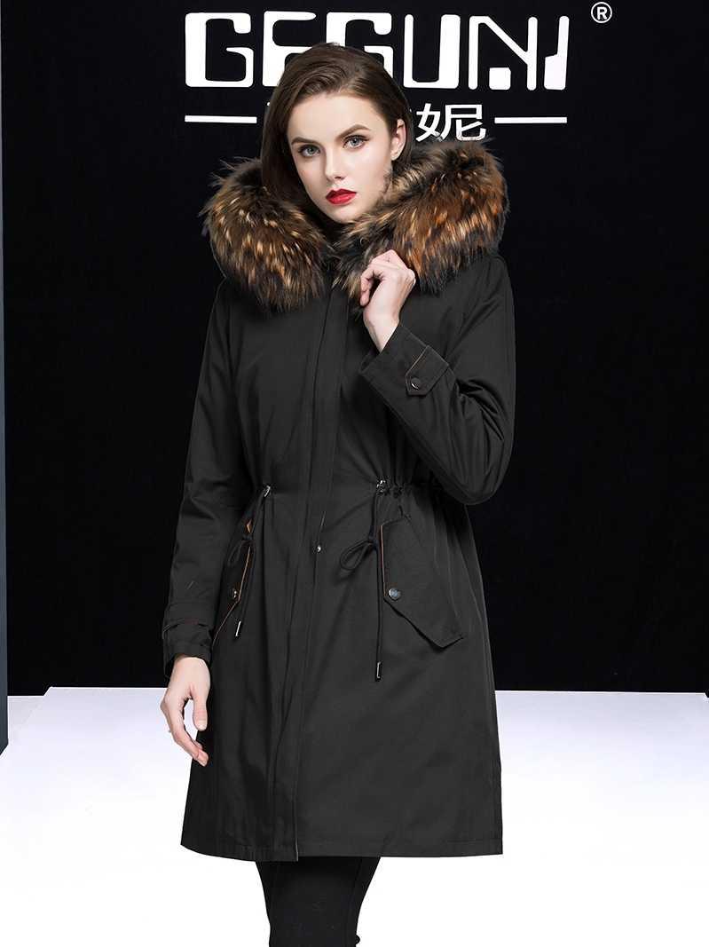 Fur Real Mantel Weibliche Echt Kaninchen Pelz Liner Parka Winter Jacke Frauen Waschbären Pelz Kragen Koreanische Lange Graben Mäntel MY3842 s