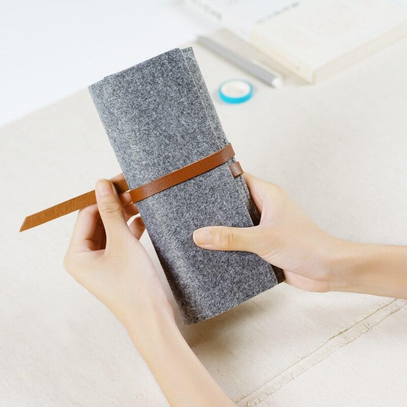 Minimalist Felt Pencil Bag Pure Color Fabric Pencil Cases School Supplies Student Office Stationery Pencil Pouch