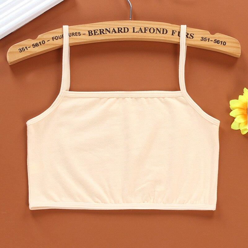 3Pc/Lot Kids Underwear 100% Cotton Girls Tank Top Candy Color Undershirt Girls Singlet Baby Camisole Bra Tops Sport 3