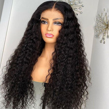 Onda profunda frontal peruca 4x4 fechamento do laço perucas de cabelo humano para as mulheres onda de água 30 Polegada pré arrancado brasileiro encaracolado peruca de cabelo humano