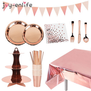 Rose Gold Glitter Tablecloths Bride To Be Wedding Engagement Table Decoration cup plates cake stand Adult 30th Birthday Party
