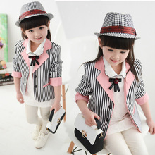 Autumn Spring Girls Striped Blazer Jacket Kids Blazers Coat M141