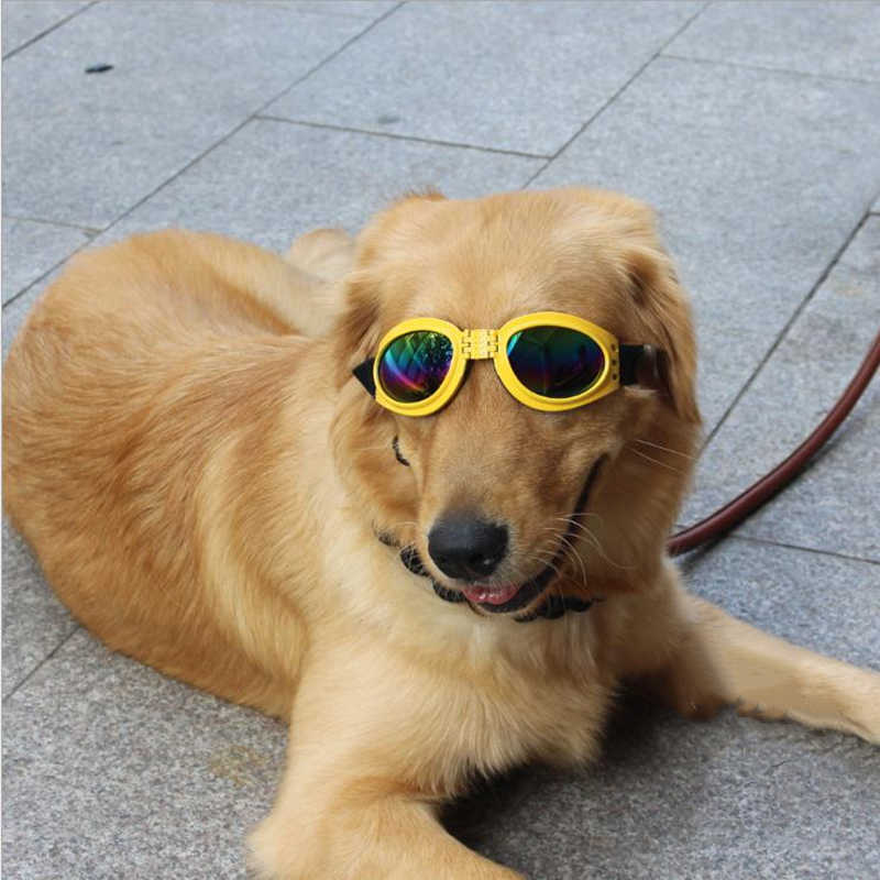 Mascota perro ajustable UV gafas de sol negro ojo-desgaste disfraz plegable resistente al sol gafas de aseo artículo fotos Accesorios