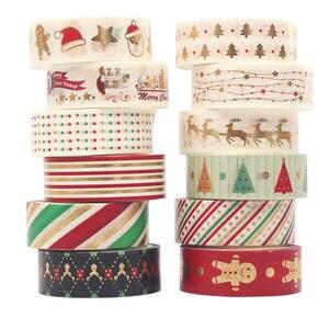 Image 5 - 12 sztuk/zestaw boże narodzenie taśmy Washi Snowflake renifer paski Kawaii taśmy maskujące naklejki papiernicze Scrapbooking szkolne