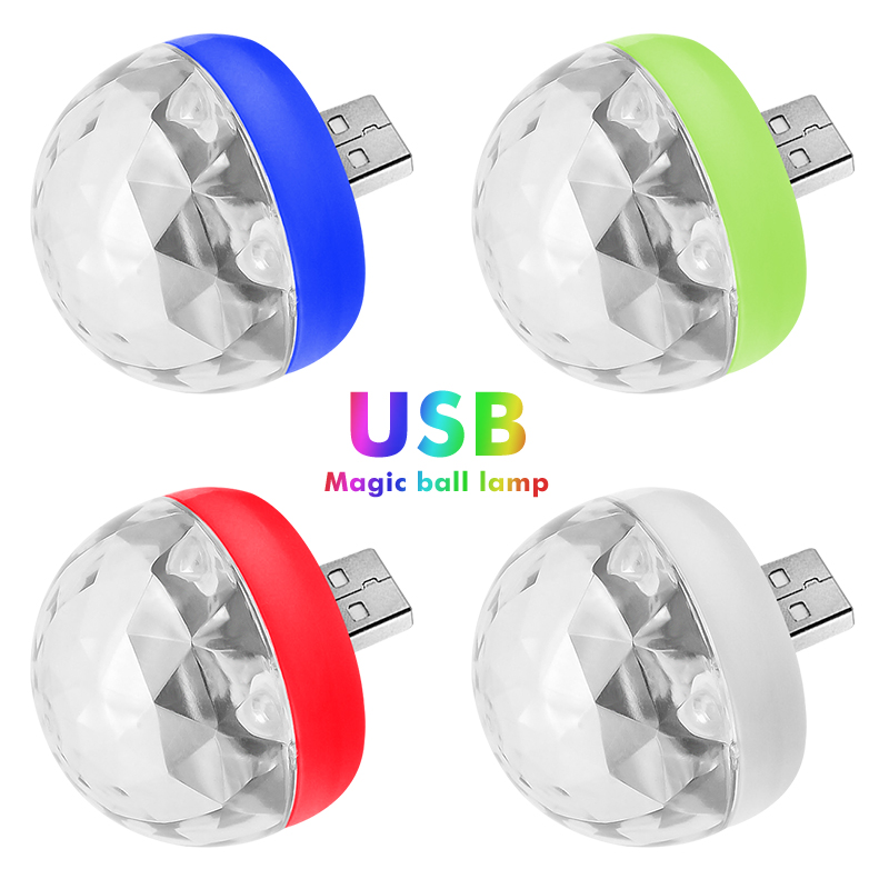 Disco Lights Mini USB Colorful Led Night Light Moon Light LED USB Music Magic Ball Light Party Home Decorations Crystal Lamp