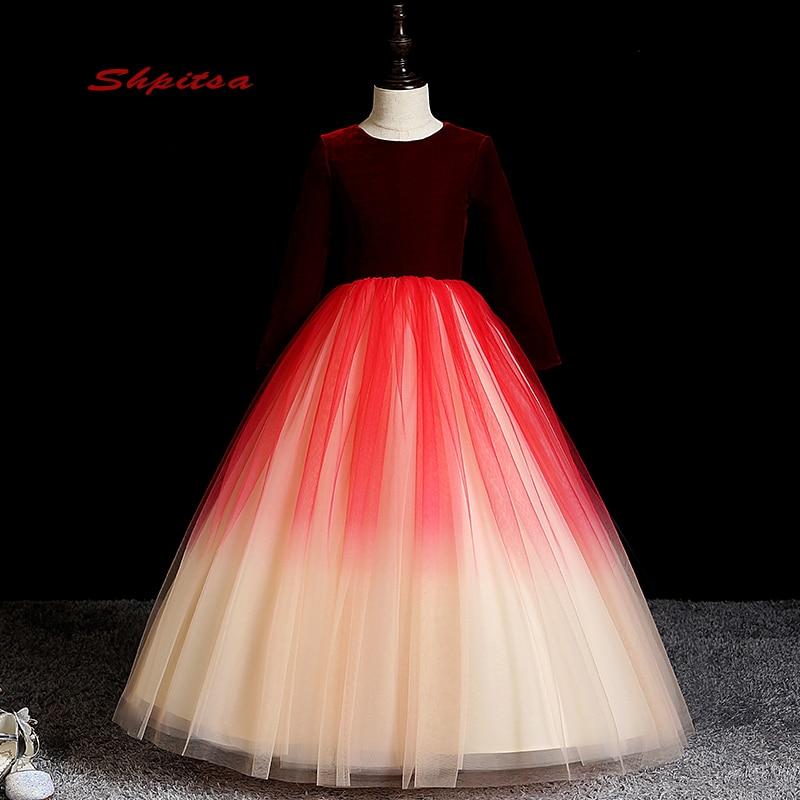Robes de fille de fleur à manches longues pour les mariages