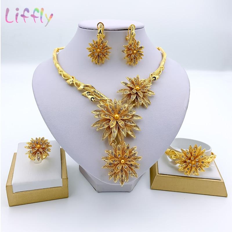 Dubai Fashion Jewelry Sets Necklace Bracelet Flower Shape Pendant Earrings Ring Crystal Jewelry Dubai Bridal Wedding Jewelry