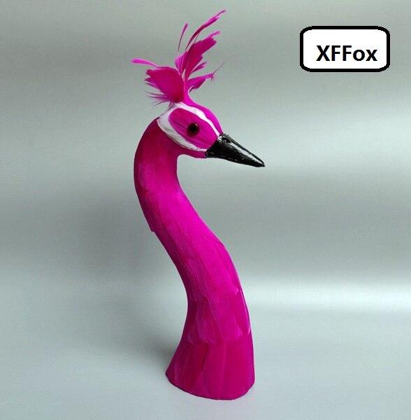Nouvelle simulation tête de paon rose vif modèle mousse et plume tête de paon poupée environ 35cm
