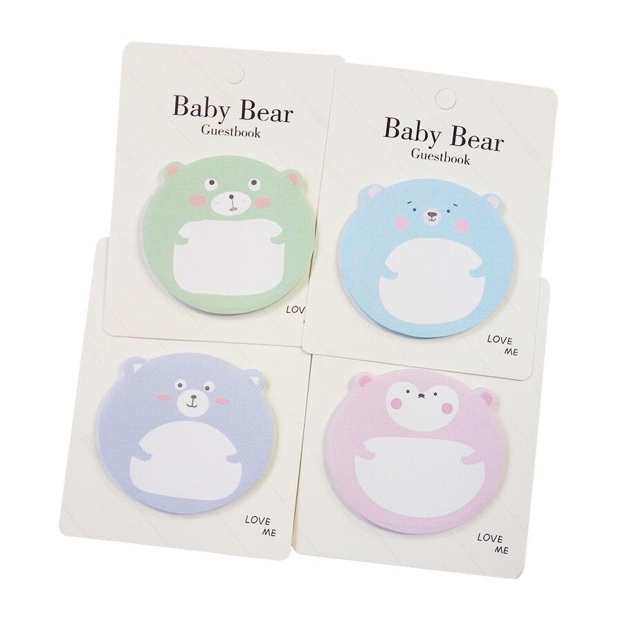 1 paczka/partia koreański kreatywny Cartoon zwierząt niedźwiadek kartki samoprzylepne notatnik kartki samoprzylepne papiernicze Do zrobienia List