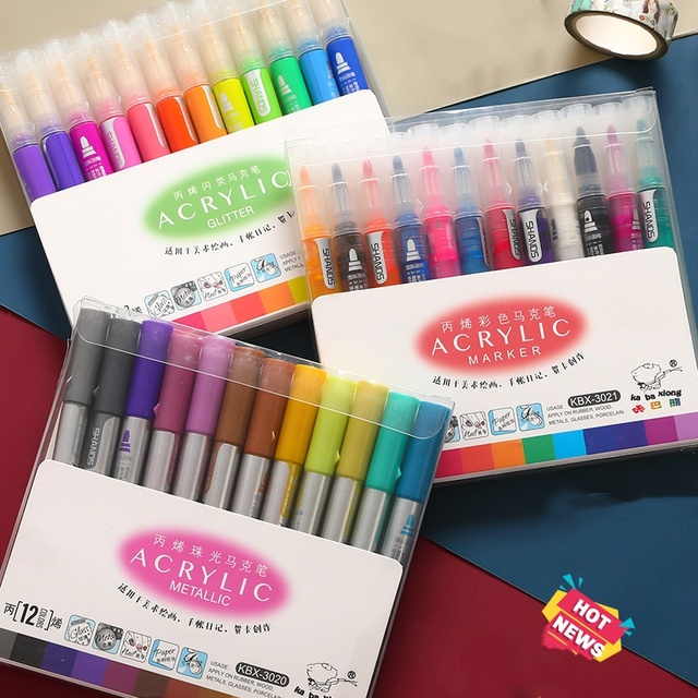 3 set/lote 36 cores acrílico metálico marcador caneta glitter pintura desenho para o prego metal vidro caligrafia cerâmica lettering arte f117