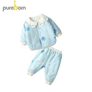 Image 2 - Pureborn ชุดเสื้อผ้าเด็กแรกเกิดเสื้อ + กางเกง 2pcs กลีบแขนยาว Thicken ชุดเด็กวัยหัดเดิน Boys Girls ชุดฤดูใบไม้ผลิฤดูหนาว