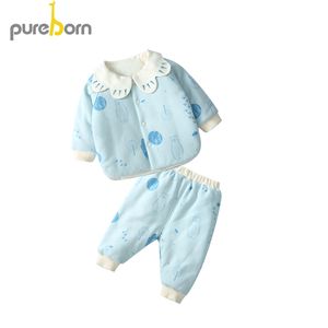 Image 2 - Pureborn Newborn Clothes Set Coat+Pants 2pcs Petal Collar Long Sleeve Thicken Outfits Toddler Boys Girls Suits Spring Winter