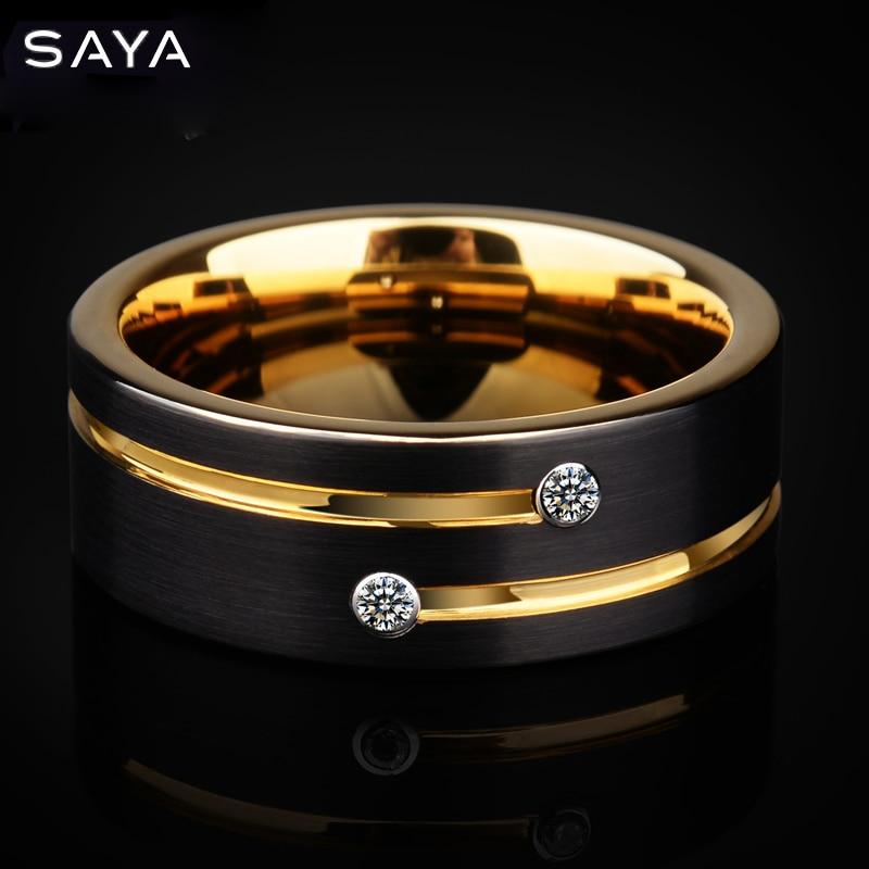 Bague pour hommes, 6/8mm bandes tons noirs tungstène Couple anneaux pour mariage, avec rainure or pierre CZ, livraison gratuite