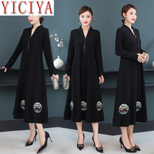 Women Black Woolen Dress Wool Embroidery Floral Dresses Elegant Vintage Plus Size Long Sleeve Party Robe Midi Vestidos Clothing pink mulberry silk dress high quality women plus size large midi embroidery floral robe dresses summer elegant vintage clothing