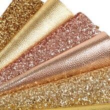 6 шт. 20*34 см Золотой серии Синтетическая кожа ткань Набор для DIY ручной работы Hairbow сумка швейный материал, 1Yc8186