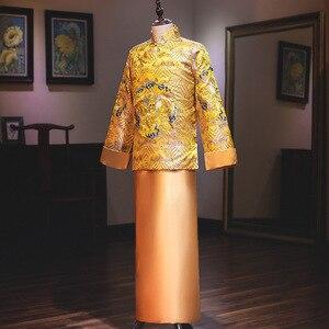 Image 2 - Распродажа, костюм Мао, одежда для мужчин, новая коллекция жениха, женатое платье в китайском стиле, весна 2020, мужские золотые Xiuhe