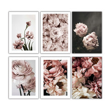Nordic Style Pink Rose Flower Canvas Art Posters and Print Modern Botanical Canvas Paintings on The Wall for Home Decor Pictures