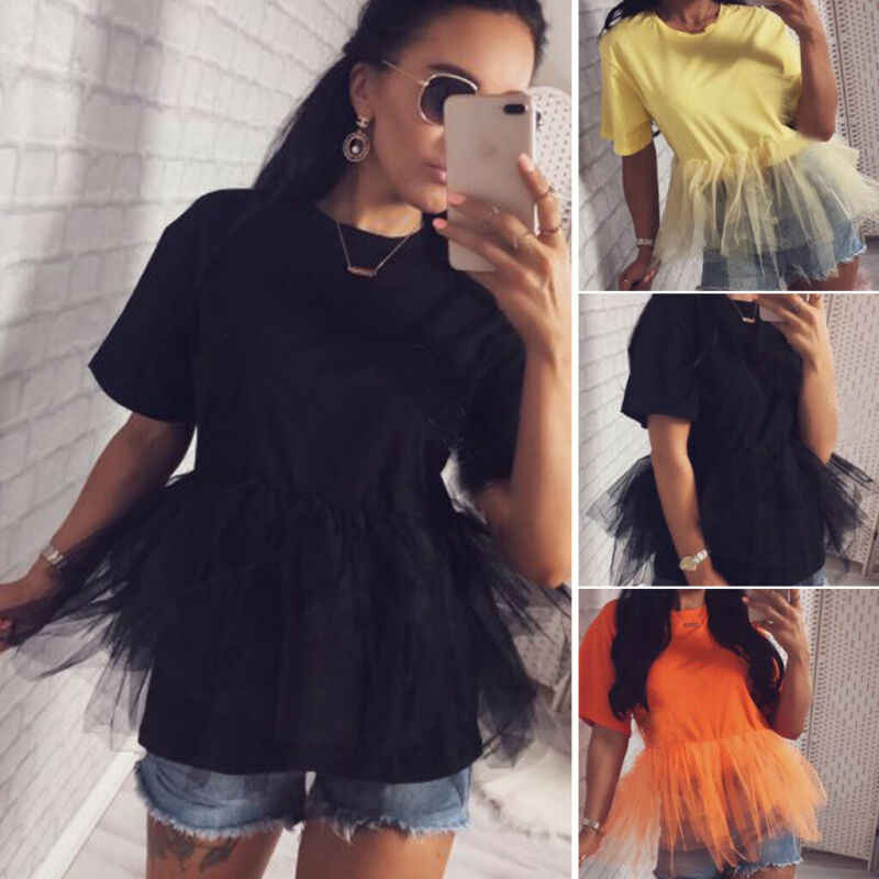 Women Tulle Patchwork Short Sleeve Mesh Tee Tops 2019 New Summer Ladies Crew Neck Party Loose Casual T Shirt Clubwear Tees Tops