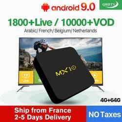 Французский IP ТВ MX10 Android 8,1 Smart ТВ коробка RK3328 4G 64G IP ТВ Европа Франция Italia Нидерланды Бельгии Арабский IP ТВ Декодер каналов кабельного