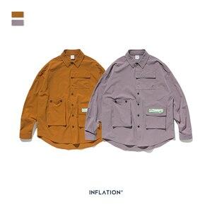 Image 5 - INFLATION DESIGN hommes chemise coupe ample à manches longues hommes chemise couleur unie avec grand père col Streetwear surdimensionné hommes chemise 92153