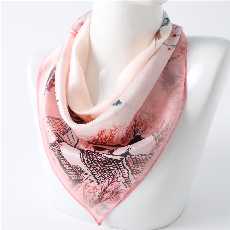2020 Design Print Women Shawls Wraps Small Square Neck Scarves Lady Floral Hair Band Foulard Pashmina Scarf Bandana